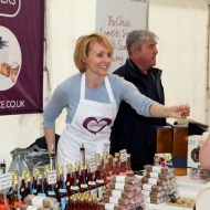 Toni and Jim Irvine giving tasters at Largs Food Festival.